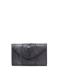Khirma Babo Python Envelope Clutch Bag Gunmetal Grey