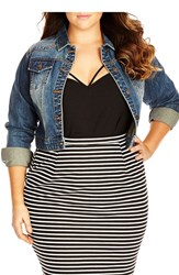 Plus Size Women's City Chic Classic Crop Denim Jacket
