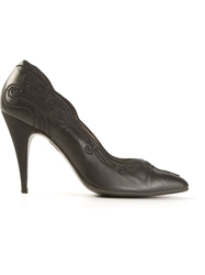 Gianni Versace Vintage Ornate Stitch Pumps Black