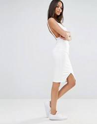 Missguided Vice High Waisted Midi Denim Skirt White