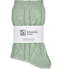 Johnstons Cable Knit Cashmere Socks Sap