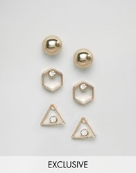 Monki Exclusive Earring Set Gold