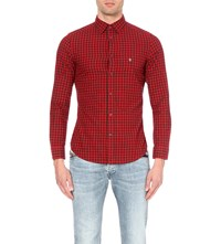 Diesel S Chains Slim Fit Cotton Shirt Red