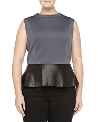 Mynt 1792 Cap Sleeve Peplum Blouse Dark Gray