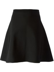 David Koma Leather Trimmed Flared Skirt Black