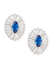 Cz By Kenneth Jay Lane Ballerina Marquis Stud Earrings Blue