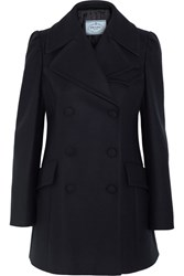 Prada Double Breasted Wool Blend Felt Peacoat Navy