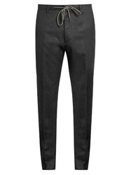 Kenzo Slim Leg Wool Flannel Trousers Grey