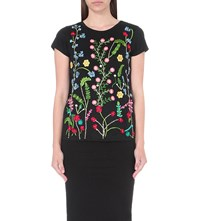 Alice Olivia Robin Embroidered Linen Jersey T Shirt Black Multi