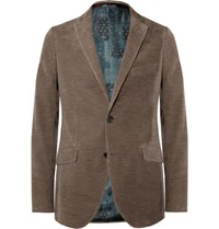 Etro Brown Slim Fit Cotton And Cashmere Blend Corduroy Blazer Brown