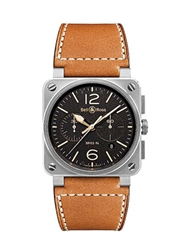 Bell And Ross Br03 Golden Heritage Chronograph Watch Black Brown Silver