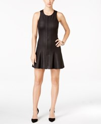 Calvin Klein Jeans Faux Leather Fit And Flare Dress Black