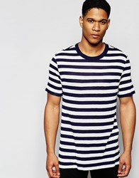 Asos Loungewear T Shirt In Knitted Stripe Off White Navy