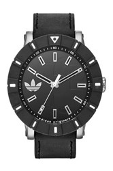 Adidas Men's Amsterdam Leather Strap Watch Black