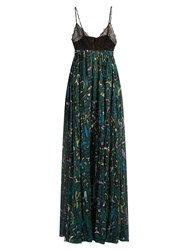 Valentino Panama Print Cotton And Lace Gown Green Multi