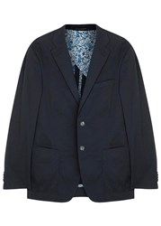 Oscar Jacobson Fox Ii Navy Stretch Cotton Blazer