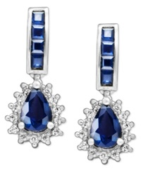 Macy's 14K White Gold Earrings Sapphire 2 1 2 Ct. T.W. And Diamond 1 4 Ct. T.W. Teardrop Blue