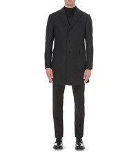 Corneliani Single Breasted Wool Blend Boucle Overcoat Grey