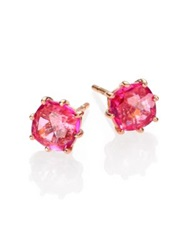 Suzanne Kalan Pink Topaz And 14K Rose Gold Cushion Stud Earrings Rose Gold Pink
