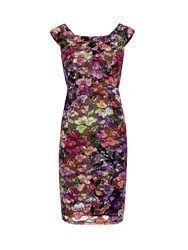 Gina Bacconi Stained Glass Stretch Lace Dress Multi Coloured