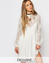 Reclaimed Vintage Lace Tea Dress With Flower Embroidery Cream