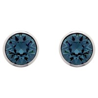 Melissa Odabash Swarovski Crystal Stud Earrings Dark Blue Silver