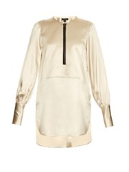 Ellery Zip Front Satin Blouse Ivory