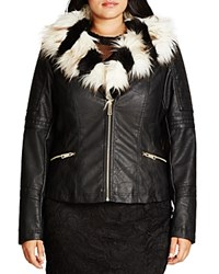 City Chic Faux Fur Francesca Jacket Black