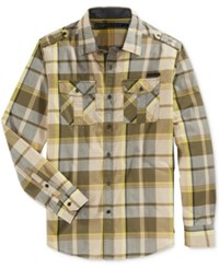 Sean John Men's Long Sleeve Epaulette Plaid Shirt Grapeleaf