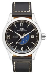 Men's Ball 'Engineer Ii Ohio' Moon Phase Leather Strap Watch 40Mm