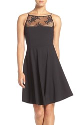Bb Dakota Women's 'Milford' Lace And Ponte Fit And Flare Dress Black