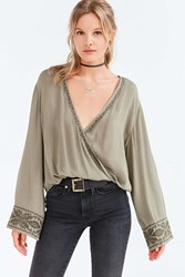 Ecote Cara Embroidered Surplice Blouse Green