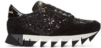 Dolce And Gabbana Black Suede Glitter Sneakers