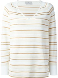 Maison Ullens Striped V Neck Sweater Nude And Neutrals