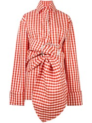 Marques Almeida Marques'almeida Gingham Belted Jacket Red