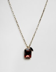 Krystal Swarovsli Crystal Rectangular Pendant Necklace Burgandy Jet Red