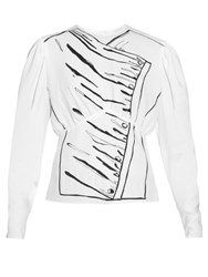 J.W.Anderson Printed Puff Sleeved Blouse White Print