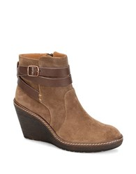 Sofft Caralee Suede Wedge Ankle Boots Brown