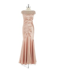Xscape Evenings Illusion Neck Mermaid Gown Summer Rose