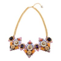 Niino Jewelry Pink Victorian Statement Bib Necklace Multi