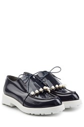 Robert Clergerie Leather Lace Ups With Faux Pearls Blue