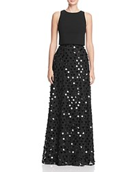 Aidan Mattox Sequin Skirt Gown Black