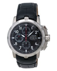 Venus Of Switzerland Automatic Chronograph Watch W Leather Strap Black
