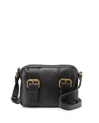 Kelsi Dagger Grasslands Buckled Leather Crossbody Bag Black