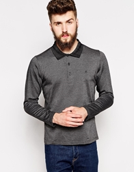 Peter Werth Long Sleeve Polo Shirt With Contrast Collar Black