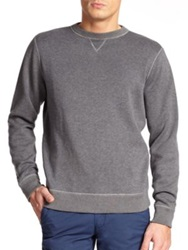 Saks Fifth Avenue Reversible Crewneck Sweatshirt Grey Navy