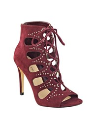 Ivanka Trump Dazy Embellished Suede Lace Up Booties Burgundy