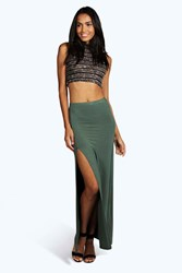 Boohoo Micha Side Split Maxi Skirt Khaki