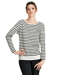 424 Fifth Striped Tee With Rhinestones White Black