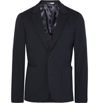 Paul Smith Navy Slim Fit Stretch Cotton Blend Blazer Blue